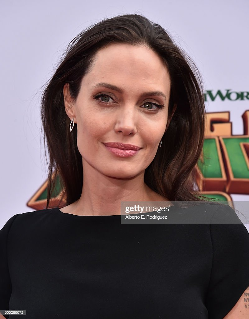Actress <a gi-track='captionPersonalityLinkClicked' href=/galleries/search?phrase=Angelina+Jolie&family=editorial&specificpeople=201591 ng-click='$event.stopPropagation()'>Angelina Jolie</a> attends the premiere of DreamWorks Animation and Twentieth Century Fox's 'Kung Fu Panda 3' at TCL Chinese Theatre on January 16, 2016 in Hollywood, California.