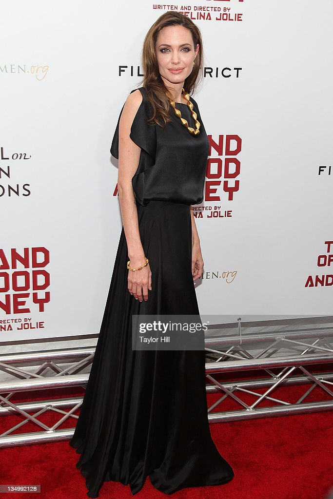 Actress <a gi-track='captionPersonalityLinkClicked' href=/galleries/search?phrase=Angelina+Jolie&family=editorial&specificpeople=201591 ng-click='$event.stopPropagation()'>Angelina Jolie</a> attends the premiere of 'In the Land of Blood and Honey' at the School of Visual Arts on December 5, 2011 in New York City.