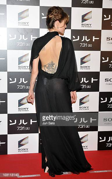 Actress Angelina Jolie attends the 'Salt' Japan Premiere at Tokyo International Forum on July 27 2010 in Tokyo Japan The film will open on July 31 in...