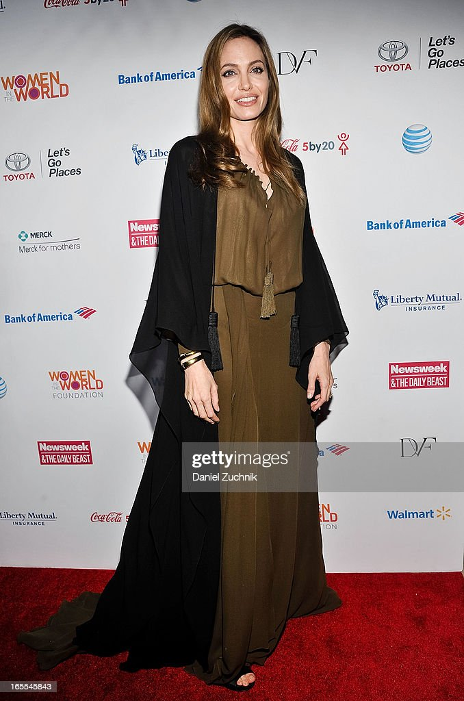 Actress <a gi-track='captionPersonalityLinkClicked' href=/galleries/search?phrase=Angelina+Jolie&family=editorial&specificpeople=201591 ng-click='$event.stopPropagation()'>Angelina Jolie</a> attends the Women in the World Summit 2013 on April 4, 2013 in New York, United States.
