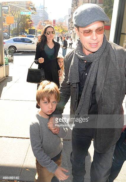Actress Angelina Jolie Brad Pitt Knox JoliePitt and Vivienne JoliePitt are seen arriving at 'Barnes Noble in Midtown'on November 3 2015 in New York...