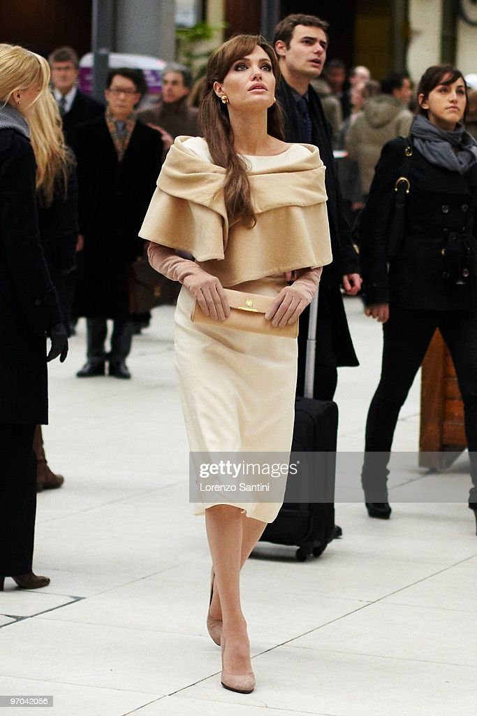Actress Angelina Jolie films at the Lyon Trains Station for the movie 'The Tourist' on February 25, 2010 in Paris, France.