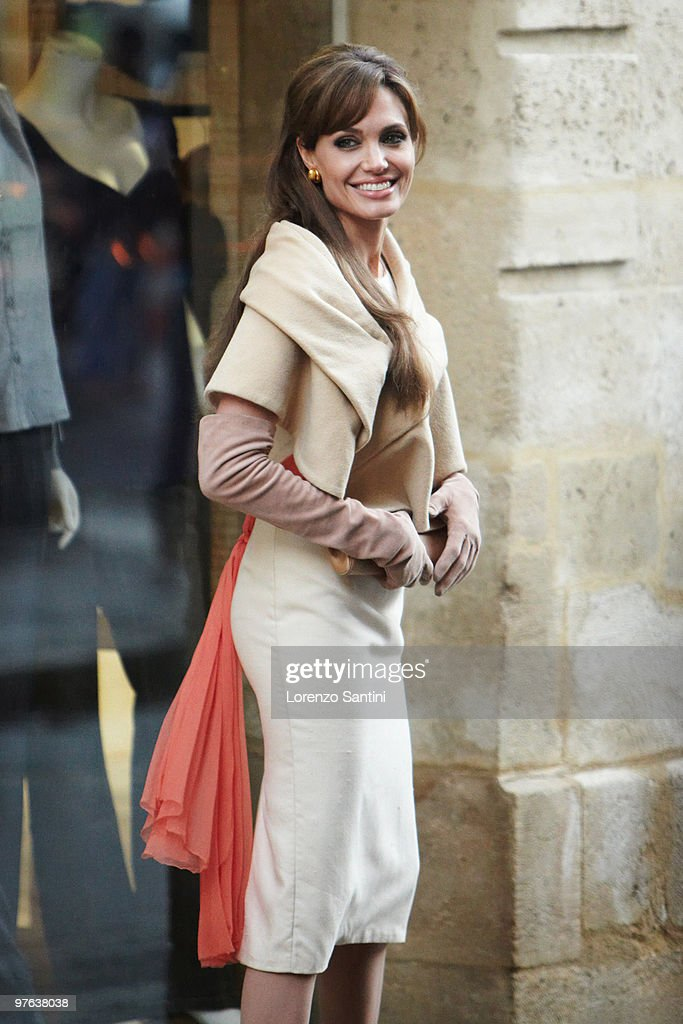 Actress Angelina Jolie films in Place des Victoires of Paris for the Movie 'The Tourist' on February 25, 2010 in Paris, France.