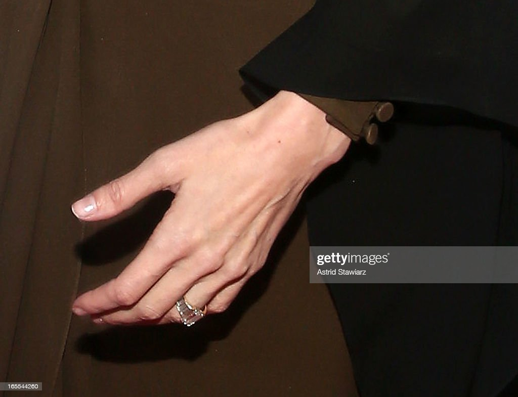 Actress Angelina Jolie (ring detail) is seen at Women in the World Summit 2013 on April 4, 2013 in New York City.