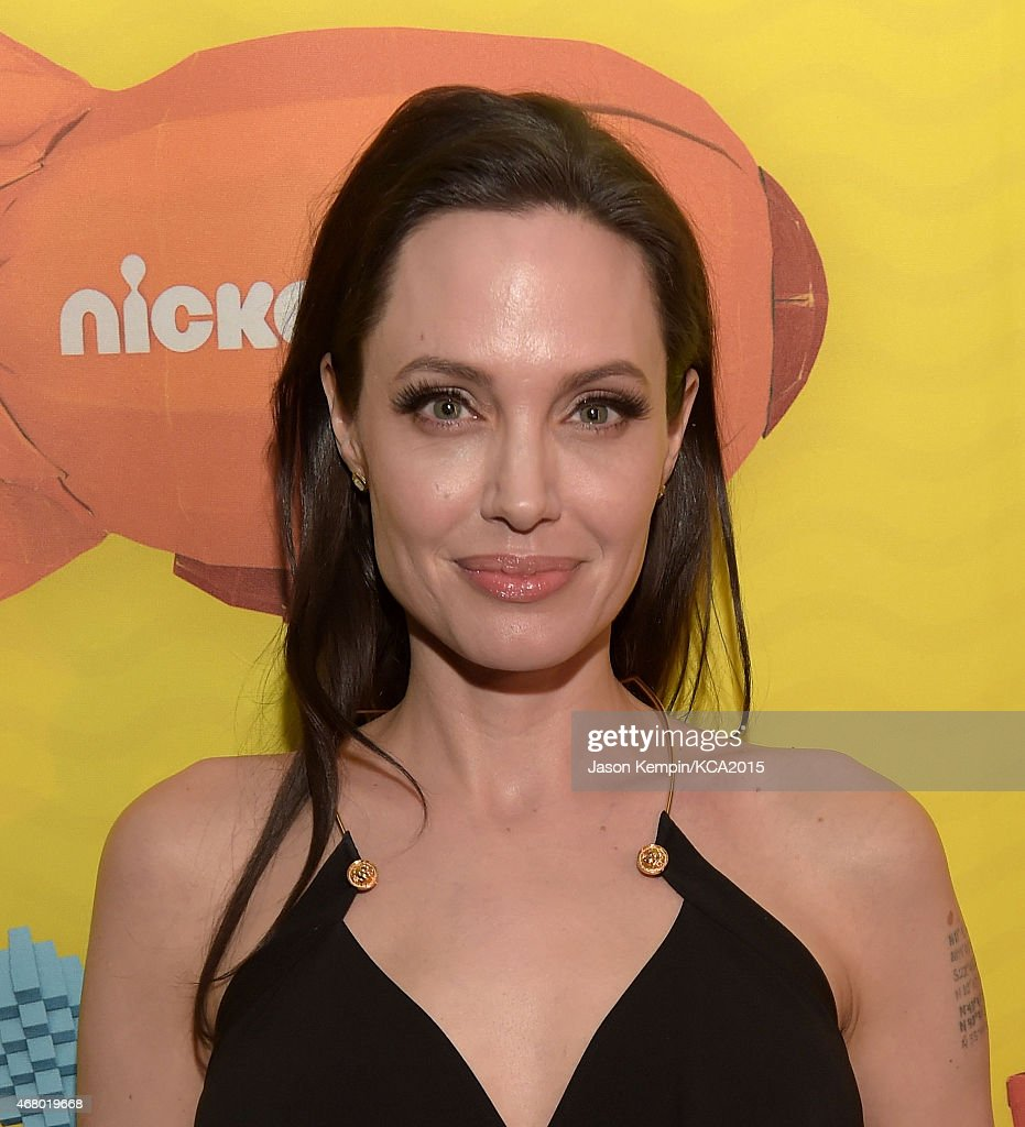 Actress <a gi-track='captionPersonalityLinkClicked' href=/galleries/search?phrase=Angelina+Jolie&family=editorial&specificpeople=201591 ng-click='$event.stopPropagation()'>Angelina Jolie</a> is seen backstage during Nickelodeon's 28th Annual Kids' Choice Awards at The Forum on March 28, 2015 in Inglewood, California.