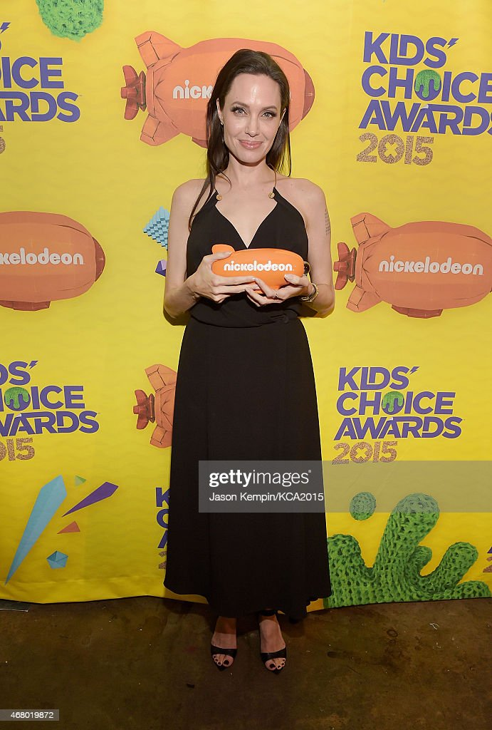 Actress Angelina Jolie is seen backstage during Nickelodeon's 28th Annual Kids' Choice Awards at The Forum on March 28 2015 in Inglewood California