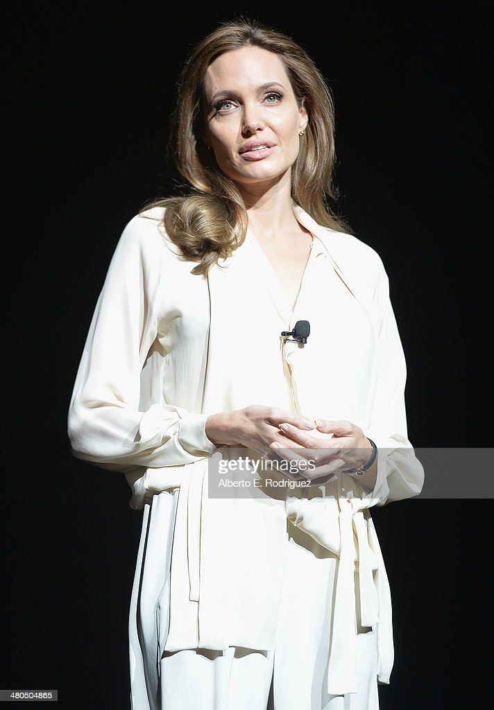 Actress <a gi-track='captionPersonalityLinkClicked' href=/galleries/search?phrase=Angelina+Jolie&family=editorial&specificpeople=201591 ng-click='$event.stopPropagation()'>Angelina Jolie</a> onstage during The State of the Industry: Past, Present and Future and Universal Studios Presentation at The Colosseum at Caesars Palace during CinemaCon, the official convention of the National Association of Theatre Owners, on March 25, 2014 in Las Vegas, Nevada.