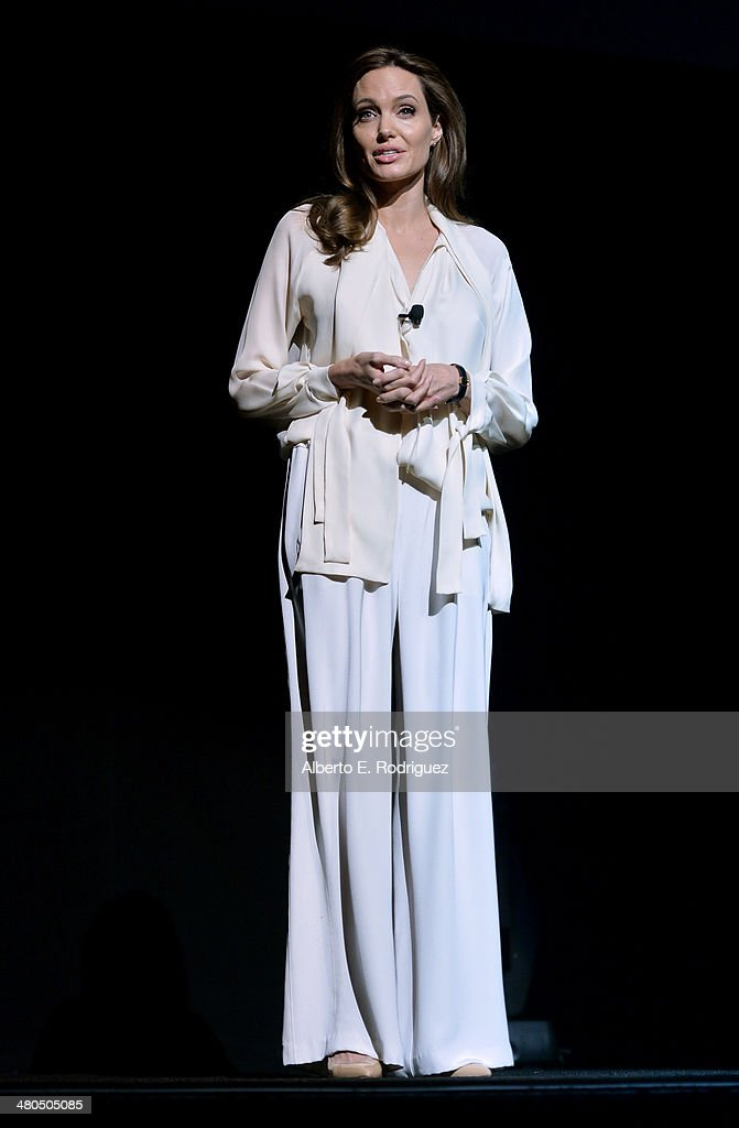Actress Angelina Jolie onstage during The State of the Industry: Past, Present and Future and Universal Studios Presentation at The Colosseum at Caesars Palace during CinemaCon, the official convention of the National Association of Theatre Owners, on March 25, 2014 in Las Vegas, Nevada.