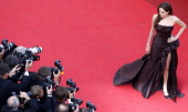 US actress Angelina Jolie poses on the red carpet before the screening of 'The Tree of Life' presented in competition at the 64th Cannes Film...