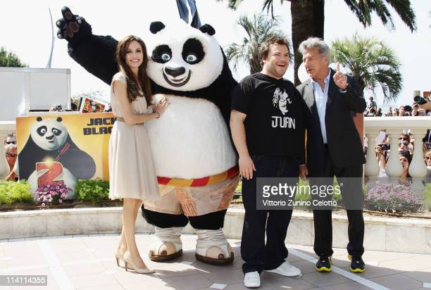 Actress Angelina Jolie poses with actors Jack Black and Dustin Hoffman during the 'Kung Fu Panda 2' photocall during the 64th Annual Cannes Film...