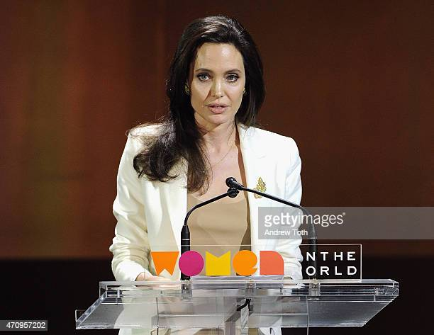 Actress Angelina Jolie speaks on stage during the Women In The World Summit held in New York on April 24 2015 in New York City