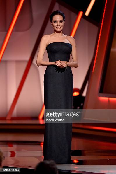 Actress Angelina Jolie speaks onstage during the 18th Annual Hollywood Film Awards at The Palladium on November 14 2014 in Hollywood California