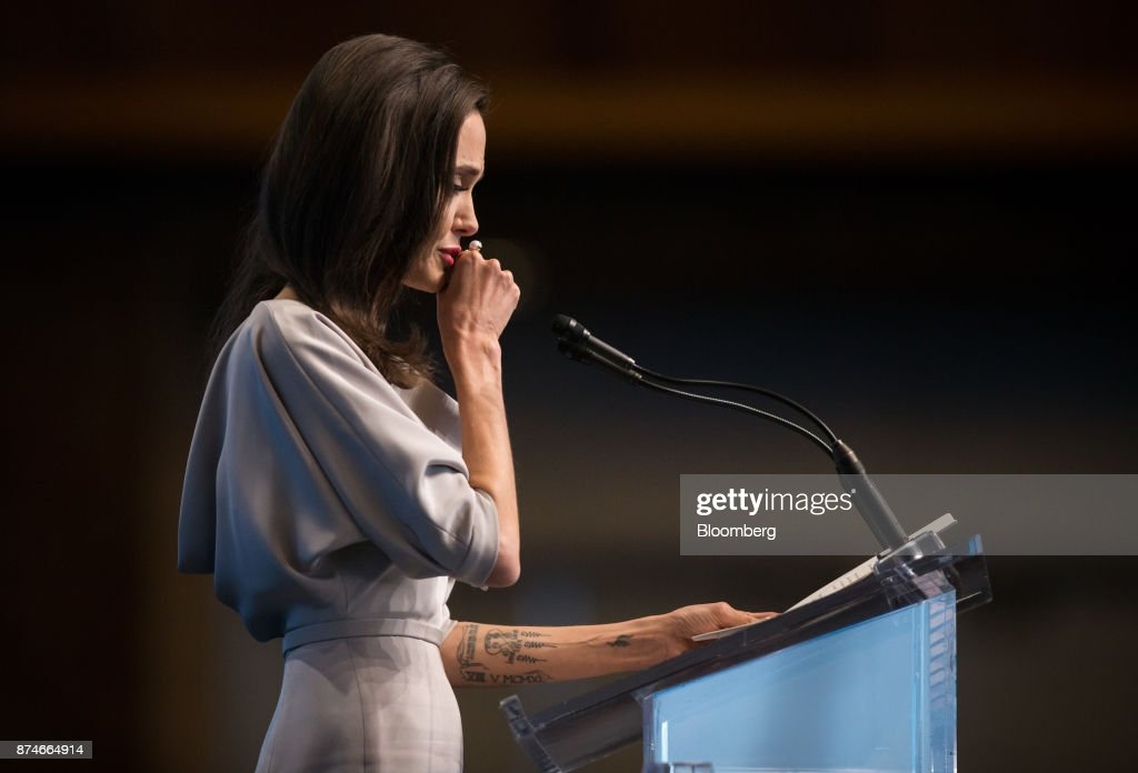 Actress Angelina Jolie, special envoy to the United Nations High Commissioner for Refugees, pauses while delivering a keynote speech during the 2017 UN Peacekeeping Defence Ministerial conference in Vancouver, British Columbia, Canada, on Wednesday, Nov. 15, 2017. Over 500 delegates from more than 70 countries and international organizations will gather at the upcoming Defence Ministerial to discuss improvements to UN peacekeeping operations and focus on securing new pledges from Member States. Photographer: Ben Nelms/Bloomberg via Getty Images