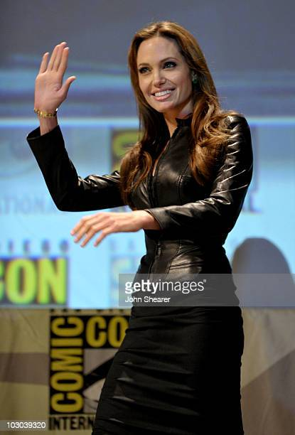 Actress Angelina Jolie walks onstage at the 'Salt' panel discussion during ComicCon 2010 at San Diego Convention Center on July 22 2010 in San Diego...