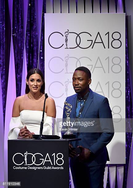 Actress Angelique Cabral and actor Lamorne Morris speak onstage during the 18th Costume Designers Guild Awards with Presenting Sponsor LACOSTE at The...