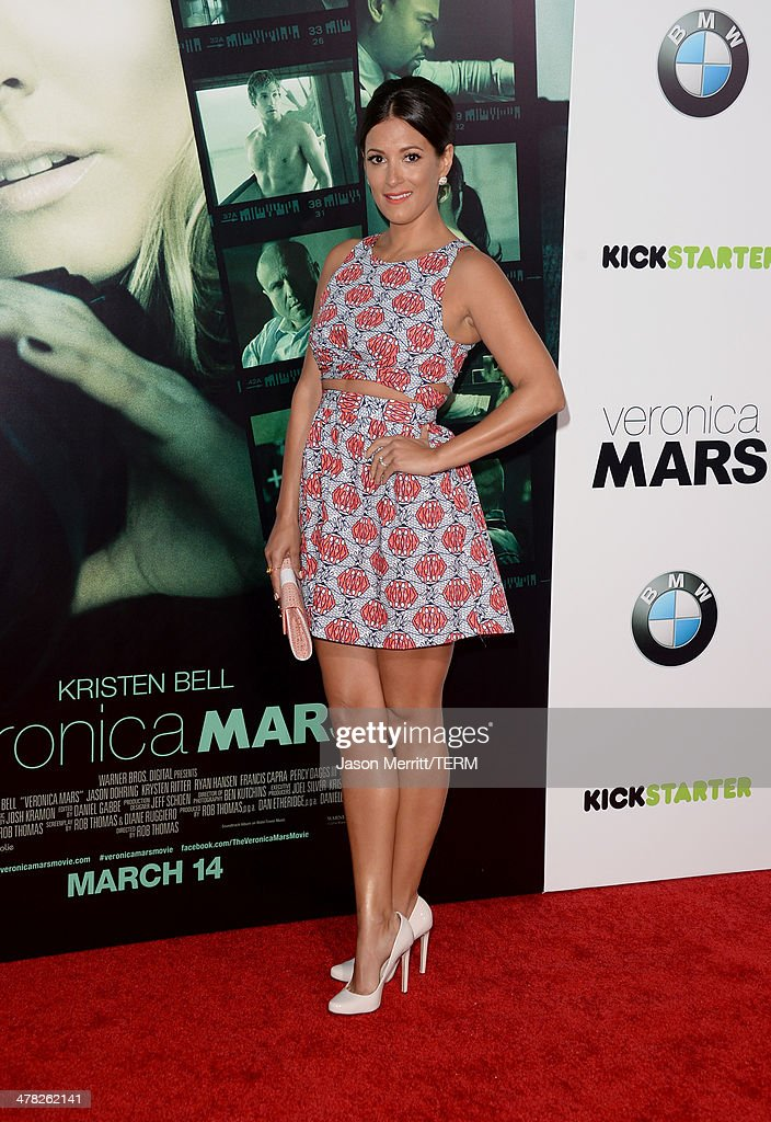 Actress Angelique Cabral arrives at the Los Angeles premiere of 'Veronica Mars' at TCL Chinese Theatre on March 12, 2014 in Hollywood, California.