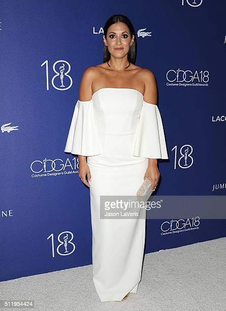 Actress Angelique Cabral attends the 18th Costume Designers Guild Awards at The Beverly Hilton Hotel on February 23 2016 in Beverly Hills California