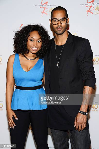Actress Angell Conwell and actor Lamon Archey attend the 'The Young The Restless' 40th anniversary cakecutting ceremony at CBS Television City on...
