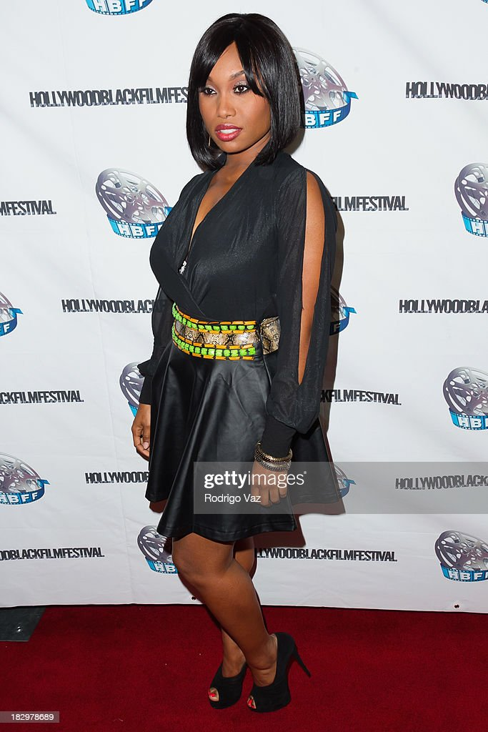 Actress <a gi-track='captionPersonalityLinkClicked' href=/galleries/search?phrase=Angell+Conwell&family=editorial&specificpeople=240300 ng-click='$event.stopPropagation()'>Angell Conwell</a> attends the Opening Night for the Hollywood Black Film Festival (HBFF) Arrivals at The Ricardo Montalban Theatre on October 2, 2013 in Hollywood, California.