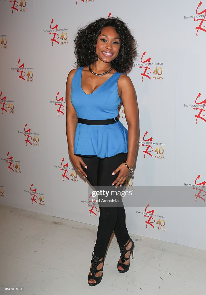 Actress <a gi-track='captionPersonalityLinkClicked' href=/galleries/search?phrase=Angell+Conwell&family=editorial&specificpeople=240300 ng-click='$event.stopPropagation()'>Angell Conwell</a> attends 'The Young & The Restless' 40th anniversary cake cutting ceremony at CBS Television City on March 26, 2013 in Los Angeles, California.
