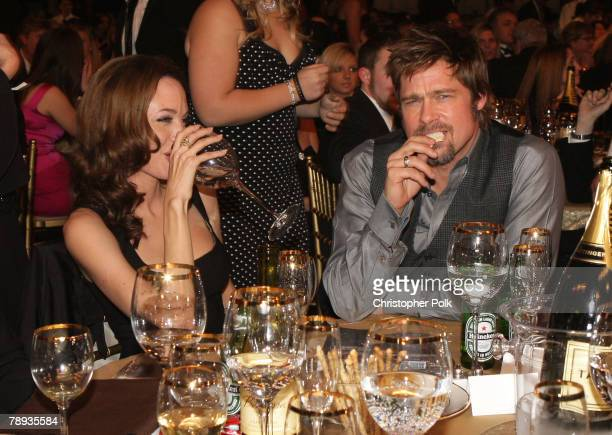 Actress Angellina Jolie and Actor Brad Pitt inside at the 13th ANNUAL CRITICS' CHOICE AWARDS at the Santa Monica Civic Auditorium on January 7 2008...