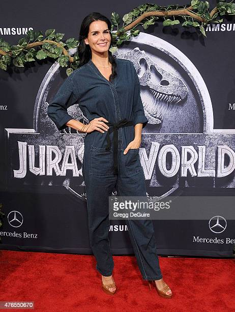 Actress Angie Harmon arrives at the World Premiere of 'Jurassic World' at Dolby Theatre on June 9 2015 in Hollywood California