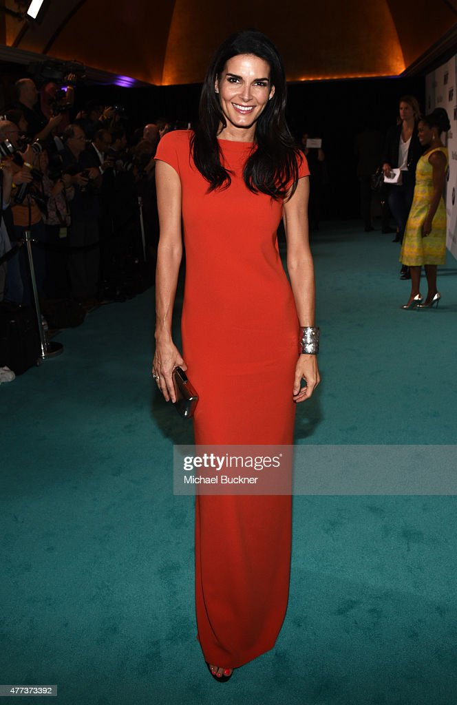 Actress Angie Harmon wearing Max Mara and Tiffany Co attends the Women In Film 2015 Crystal Lucy Awards at the Hyatt Regency Century Plaza on June 16...