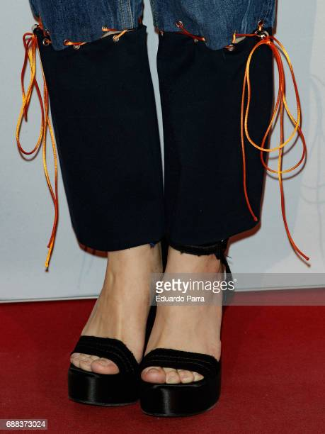 Actress Angy Fernandez shoes detail attends the '#espiriturivera' photocall at Soho disco on May 25 2017 in Madrid Spain