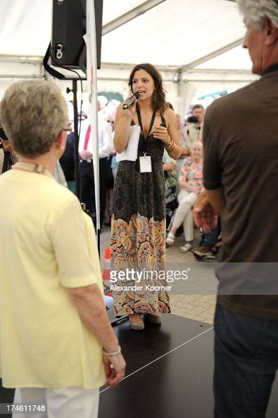 Actress Anika Lehman is beeing pictured during an auction at the 'Rote Rosen FanTag 2013' on July 28 2013 in Luneburg Germany More than 3500 fans of...