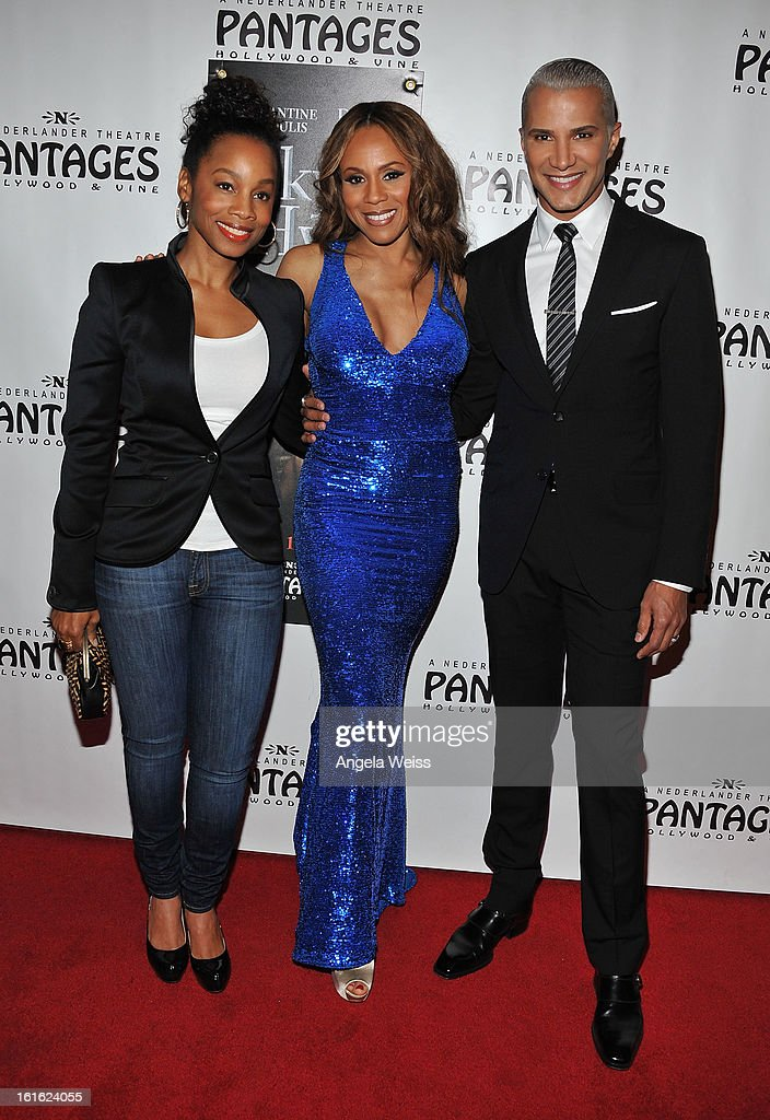 Actress Anika Noni Rose, singer Deborah Cox and TV personality Jay Manuel arrive at the opening night of 'Jekyll & Hyde' held at the Pantages Theatre on February 12, 2013 in Hollywood, California.