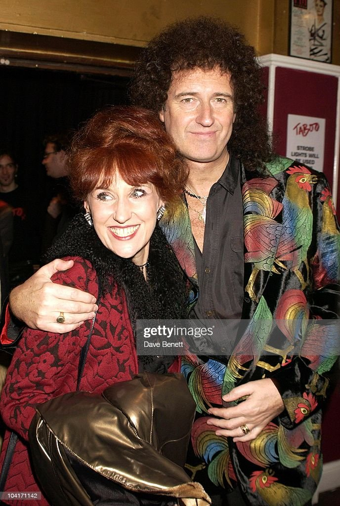 Actress Anita Dobson With Brian May (queen), Special Charity Preview Of Boy George's New Musical 'Taboo' In Aid Of The Mercury Phoenix Trust And The Child Welfare Society. At The Venue In Leicester Square, London And Then The Party At Soho House.