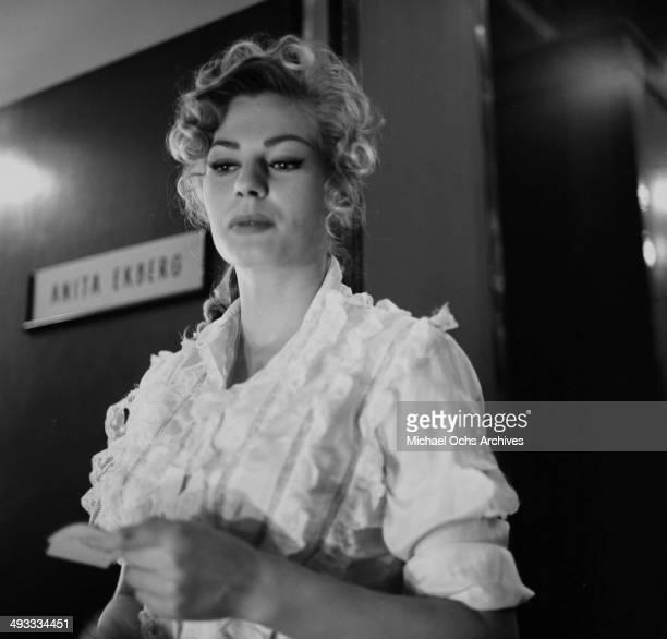 Actress Anita Ekberg behind the set of Back from Eternity' in Los Angeles California