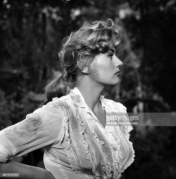 Actress Anita Ekberg on the set of Back from Eternity' in Los Angeles California