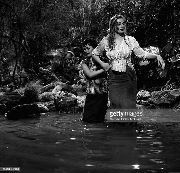 Actress Anita Ekberg with Phyllis Kirk on the set of Back from Eternity' in Los Angeles California