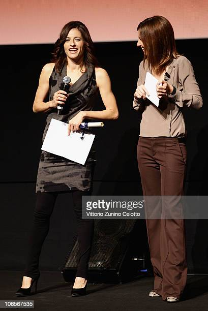 Actress Anita Kravos and Carolina Di Domenico speak on stage at the Collateral Awards ceremony during the 5th International Rome Film Festival at the...
