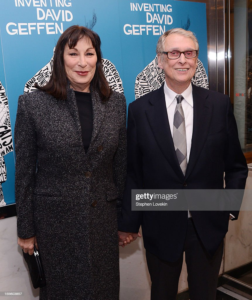 Actress <a gi-track='captionPersonalityLinkClicked' href=/galleries/search?phrase=Anjelica+Huston&family=editorial&specificpeople=202921 ng-click='$event.stopPropagation()'>Anjelica Huston</a> and filmmaker <a gi-track='captionPersonalityLinkClicked' href=/galleries/search?phrase=Mike+Nichols+-+Film+Director&family=editorial&specificpeople=204462 ng-click='$event.stopPropagation()'>Mike Nichols</a> attend the 'Inventing David Geffen' New York Premiere at Paris Theater on November 5, 2012 in New York City.