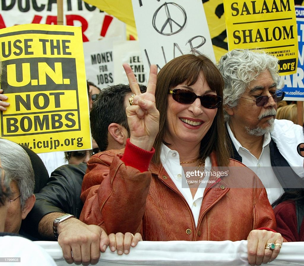 Actress Anjelica Huston and Husband Robert Graham Jr at the Anti War Protest on February 15, 2003 in Hollywood, Los Angeles, California.