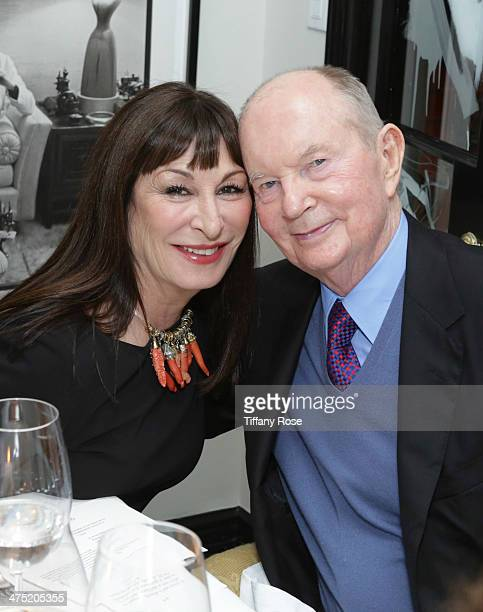 Actress Anjelica Huston and Jerry Perenchio attend VIOLET GREY Honors Elizabeth Taylor At She's So Violet Salon Dinner on February 26 2014 in Los...