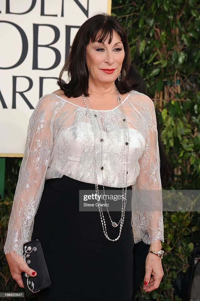 Actress Anjelica Huston arrives at the 70th Annual Golden Globe Awards held at The Beverly Hilton Hotel on January 13, 2013 in Beverly Hills, California.