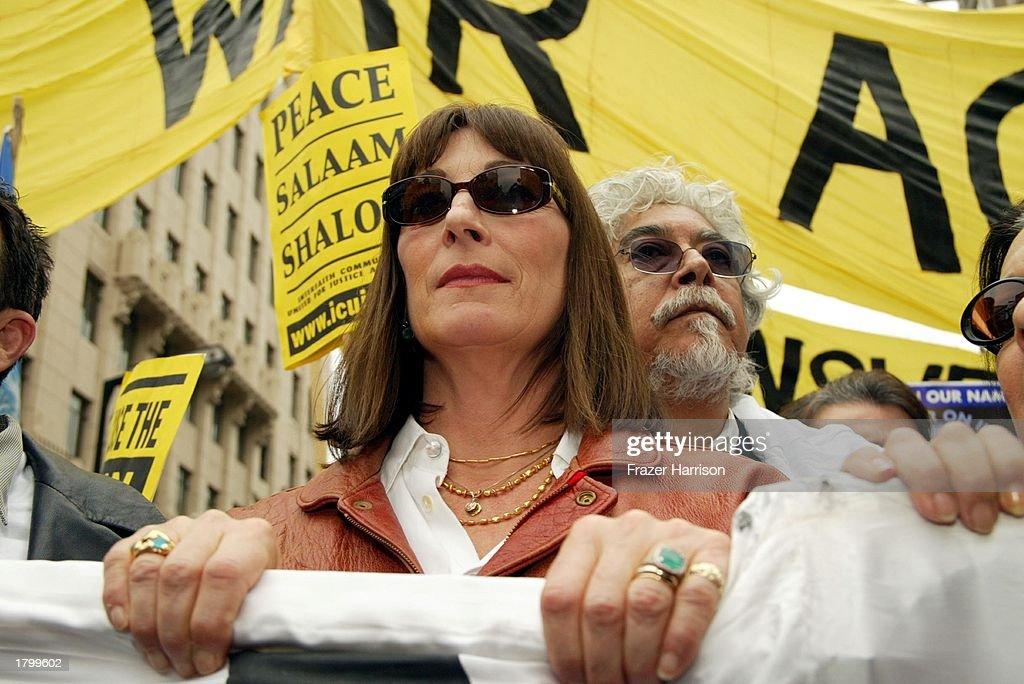 Actress Anjelica Huston at the Anti War Protest on February 15, 2003 in Hollywood, Los Angeles, California.