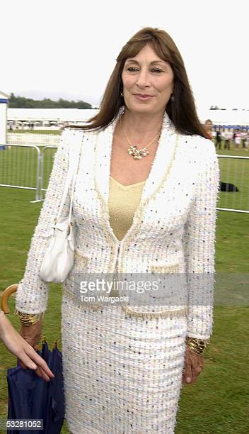 Actress Anjelica Huston attends Cartier International Day at Guards Polo Club Windsor Great Park on July 24 2005 in Windsor England