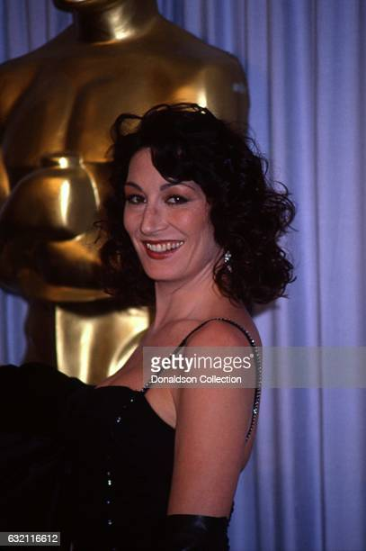 Actress Anjelica Huston attends the Academy Awards in March 1987 in Los Angeles California