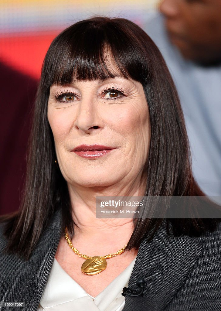 Actress <a gi-track='captionPersonalityLinkClicked' href=/galleries/search?phrase=Anjelica+Huston&family=editorial&specificpeople=202921 ng-click='$event.stopPropagation()'>Anjelica Huston</a> onstage at the 'Smash' panel discussion during the NBCUniversal portion of the 2013 Winter TCA Tour- Day 3 at the Langham Hotel on January 6, 2013 in Pasadena, California.