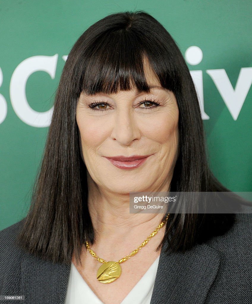 Actress Anjelica Huston poses at the 2013 NBC Universal TCA Winter Press Tour Day 1 at The Langham Huntington Hotel and Spa on January 6, 2013 in Pasadena, California.