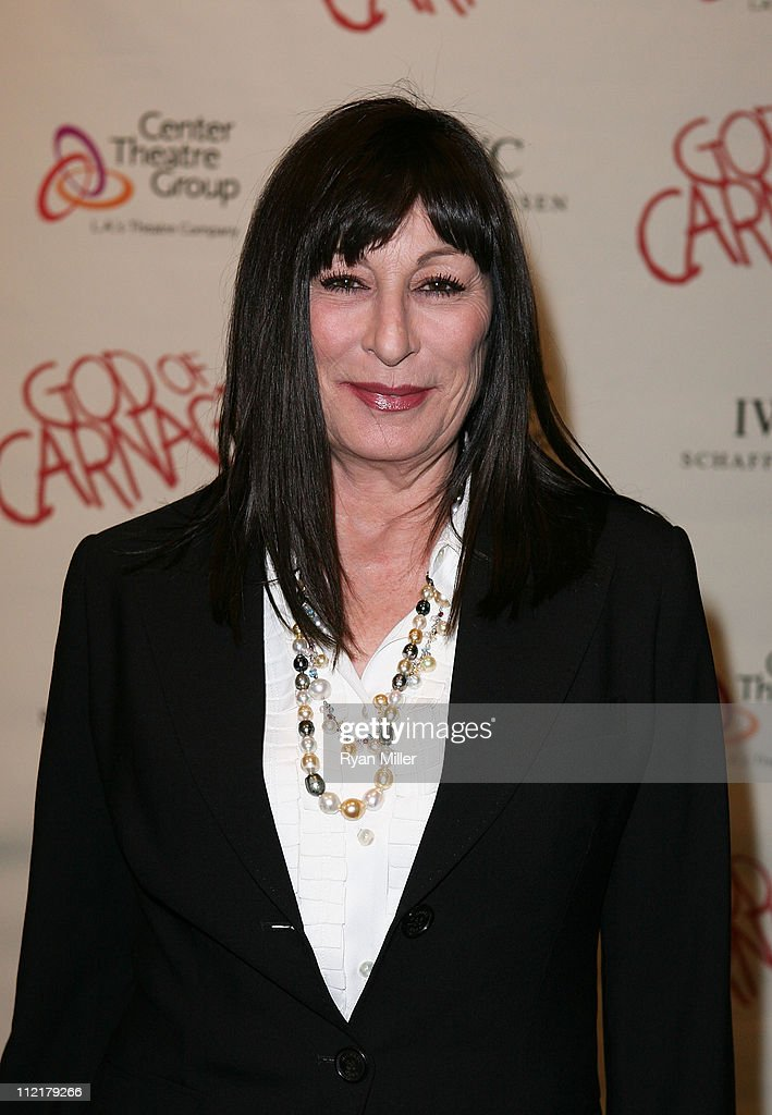 Actress Anjelica Huston poses during the arrivals for the opening night performance of 'God of Carnage' at Center Theatre Group's Ahmanson Theatre on April 13, 2011 in Los Angeles, California.