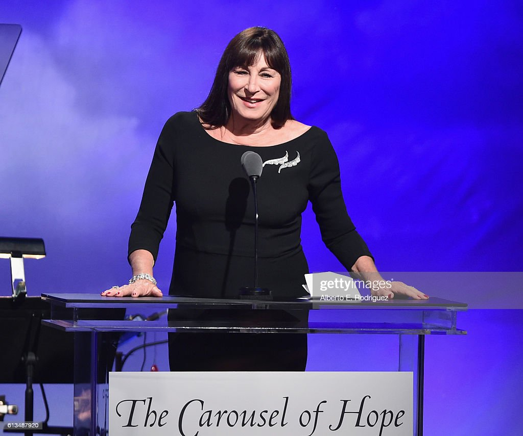 Actress Anjelica Huston speaks onstage during the 2016 Carousel Of Hope Ball at The Beverly Hilton Hotel on October 8, 2016 in Beverly Hills, California.