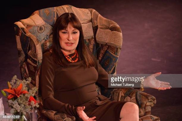 Actress Anjelica Huston takes part in an onstage conversation at 'An Evening With Anjelica Huston' presented by the Library Foundation of Los...