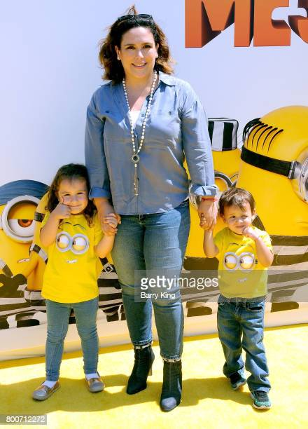 Actress Anjelica Vale with daughter Angelica Masiel Padron and son Daniel Nicolas Padron Vale attend the premiere of Universal Pictures And...