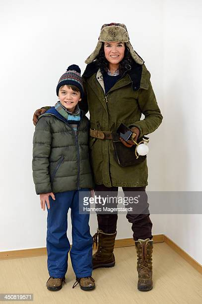 Actress Anke Egelke and Milo Parker attend 'Gespensterjaeger Auf eisiger Spur' Photocall at the Bavaria Studios on November 20 2013 in Munich Germany