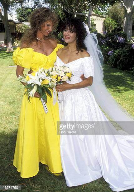Actress Ann Turkel and Actress Marina Sirtis the Wedding of Marina Sirtis and Michael Lamper on June 21 1992 at Saint Sophia Greek Orthodox Cathedral...